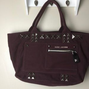 Marc Jacobs Burgundy Canavas chipped studs Tote